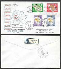 1958 Ghana First Day Cover- Conference of Independent African States, Map