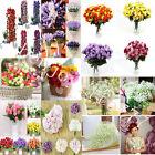 Silk 15Heads Flower Bouquet Rose Lavender Peony Handmade Hydrangea Wedding Party