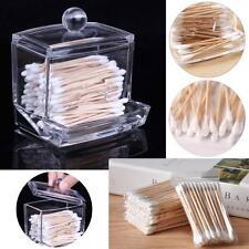 Acrylic Storage Cotton Ball Swab Pad Organizer Holder Bathroom Container BE
