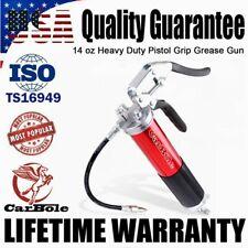 """6000Psi High Pressure Grease Gun w/ 14Oz Pistol Grip Handle 12"""" Flex Hose Red"""