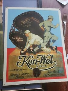 KEN-WEL BRAND METAL SIGN LOU GEHRIG APPROX 14 BY 11 Baseball Gloves Embossed