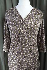 LK Bennett Empire Line Stretchy Brown Green Floral Dress UK12 EU40