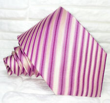 Neck tie Classic pink striped Silk Made in Italy business / wedding mens ties
