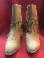Oak Tree Farms 8.5 Beige Suede Fringe Side Zip Boots Western Cowgirl Metal Toe