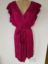 DAMSEL in a DRESS Lexi Leopard 12 Iridescent Magenta PINK Cocktail Wrap RRP £139