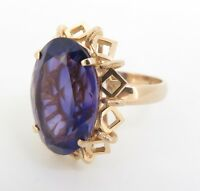 .Large Amethyst Handmade 14ct Yellow Gold Ladies Dress Ring Size N 1/2 Val $3335