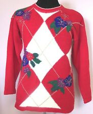 Ugly Christmas Sweater Pullover Top Gold Beading by Dana Scott Size Medium