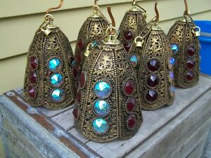 Very Unique Vintage FILIGREE METAL LAMP SHADES w LARGE AB & RUBY RED GLASS GEMS