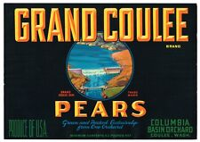 ORIGINAL 1930S PEAR CRATE LABEL COULEE WASHINGTON VINTAGE DAM COLUMBIA BASIN