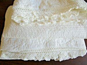Pair Ralph Lauren BARTLETT Crochet Trim White / Cream Standard Pillow Sham, NEW