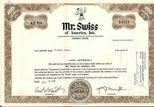 Mr. Swiss of America, Inc Stock Certificate 1968 100 shares State of Delaware