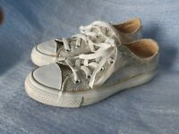 Converse all star sneakers shoes silver gliter low size womens 6 mens 4