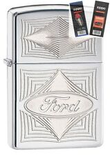 Zippo 28625 ford logo Lighter with *FLINT & WICK GIFT SET*