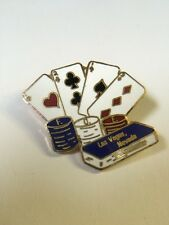 Vintage Las Vegas, Nevada Playing Cards Poker Gold Tone Metal Enamel Lapel Pin