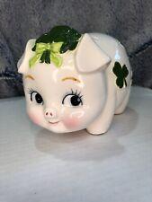 """VINTAGE 50's Lefton China Pig Piggy Bank SHAMROCKS Stopper 6.5"""" Japan Stickered"""