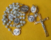 regina sine labe METAL AND MOTHER OF PEARL BEADS ROSARY OF LOURDES WITH MEDALS