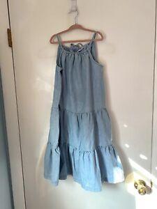 hanna andersson Sun Dress Blue Chambray Sz 140 US 10