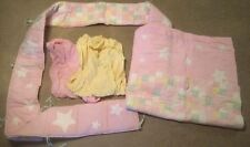 Girls Pottery Barn Crib Bedding Pink Patchwork Quilt White Stars Baby Nursery