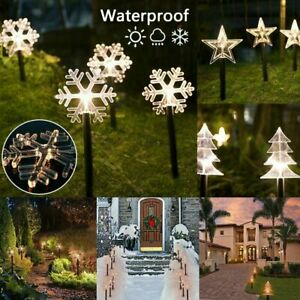 5x LED Christmas Tree Snow Pathway Marker Lights Yard Lawn Pathway Outdoor Decor