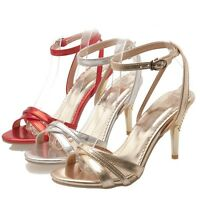 New Fashion Womens Open Toe Cross Strap High Heels Formal Shoes Pumps Plus Size