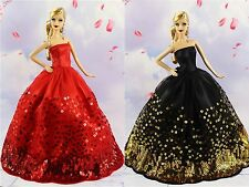 2* Collection Royalty Princess Black and Red Dress/Clothes For Barbie Doll S28F