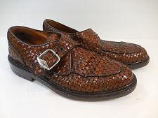 Basket Weave Monk Strap Mens Sz 8 D Italy Joseph Abboud Shoe Brown Leather Woven