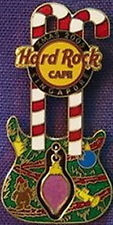 Hard Rock Cafe Singapore 2005 Christmas Pin Dn Guitar w/Dangling Ornament #31427