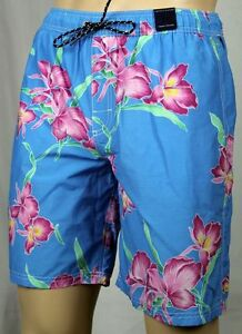 Tommy Hilfiger Blue Pink Green Floral Swim Shorts Trunks NWT M