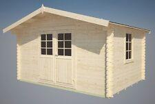 34 mm Gartenhaus Elbe + Fußboden + Schindeln schwarz  Gerätehaus Holz Blockhaus