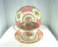Vintage1940's Royal Albert Lady Carlyle China 855022 Trio Tea Set