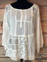 Women's Vanessa Virginia Semi Sheer Boho Lace Crocheted Top Blouse Sz L Cream