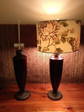 Pair Mid-Century Modern Conical Table Lamp 2 Espresso & Bronze Dual Bulb Lamps