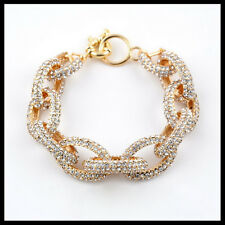 "New Preppy Chunky Enamel Pave Crystal Chain Link Bracelet Bangle Rhinestone 8"""