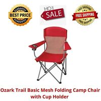 Ozark Trail Basic Mesh Folding Camp Chair with Cup Holder for Outdoor, Red New
