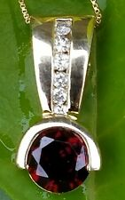 Ladies 14k Yellow Gold Garnet & Diamond Pendant Necklace Chain Estate Jewelry