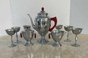 Vintage Art Deco Chrome Tea/coffee Pot Sugar Creamer Red Bakelite Goblets (6)