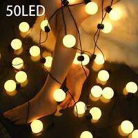 50LED Solar Globe String Lights Powered Fairy Garden String Lights Outdoor Party