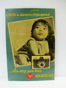 """Vintage Agfa Camera Tin Sign Board Advertising Litho Depicting Baby Collectibl""""F"""