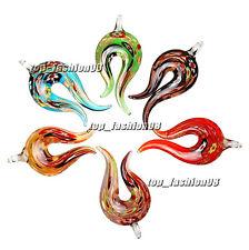 FREE Wholesale 6pcs flame Gold Foil Lampwork Glass Pendants DIY Necklace