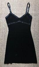 VTG Betsey Johnson Dress CRUSHED VELVET Black Adj Straps Size L.  Stretch Velvet