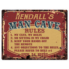 Ppmr0538 Kendall'S Man Cave Rules Rustic Tin Chic Sign man cave Decor Gift