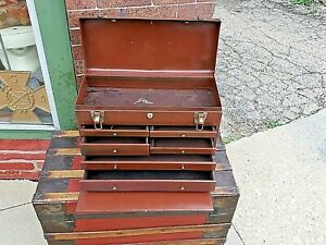Machinist Vintage metal multi drawer tool chest with lock & Keys