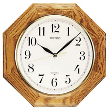 *BRAND NEW* Seiko Octagonal Shape Medium Brown Solid Oak Wall Clock QXA102BC