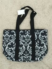 Women's Insulated Black & White Damask Tote Bag