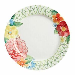 """Pier 1 FLORAL 10.87"""" Salad Plate SPRING EASTER PAINTERLY FLOWER NWT"""
