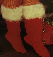 Rubie's Red Plush Santa Boot Christmas Slippers White Trim Adult Unisex Medium