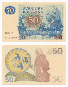 Sweden, 50 Kronor 1981, Pick 53r3, XF+, Replacement