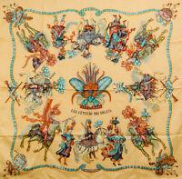 """Authentic HERMES Silk Carré 35"""" 90cm Scarf Les Fetes du Roi Soleil Yellow #8561"""