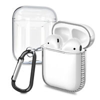 For Apple AirPods 1/2 Charging Case Transparent Clear Protective Skin + Keychain