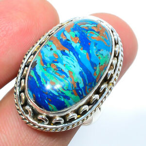 Rainbow Calsilica 925 Sterling Silver Bali Ring s.8 S2663